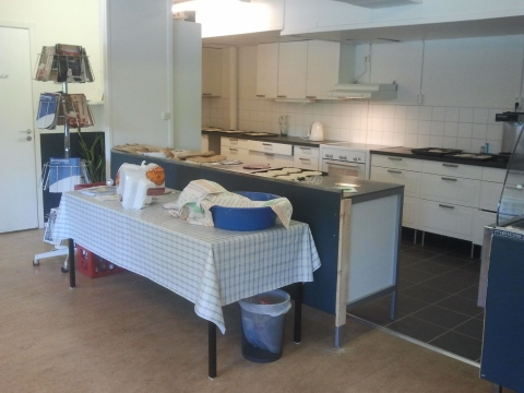 Long view of the kitchen at Verdandi women's center